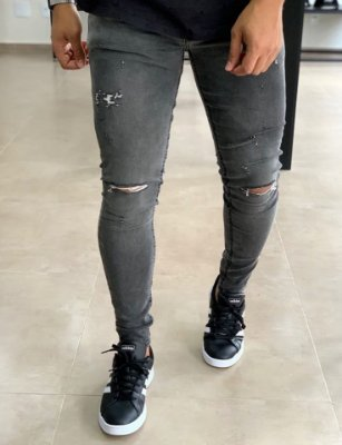 Calça Jeans Skinny Preto Manchado Rasgo no Joelho - Zip Off