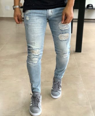 Calça Jeans Light Skinny Destroyed Hope - Zip Off