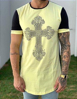 Camiseta Longline Yellow Detalhe Cruz - King Joy