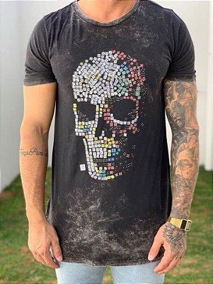 Camiseta Longline Caveira Preto Manchado - Austin Club