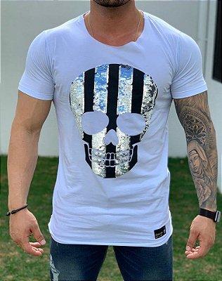 T-Shirt Long Paetê Skull Stripes White - John Jones
