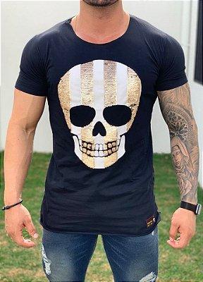 T-Shirt Long Paetê Skull Stripes Black - John Jones