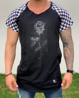 Camiseta Longline Raglan Rose & Grid - John Jones
