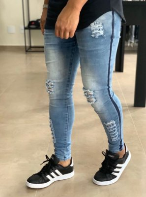 Calça Jeans Skinny Destroyed Faixa Reserva - Kawipii
