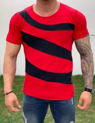 Camiseta Longline Red Black Transversal - Kawipii