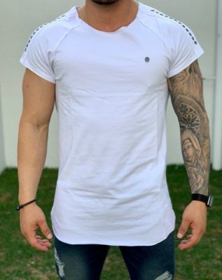Camiseta Longline Raglan White Caveira Pedraria - Kawipii