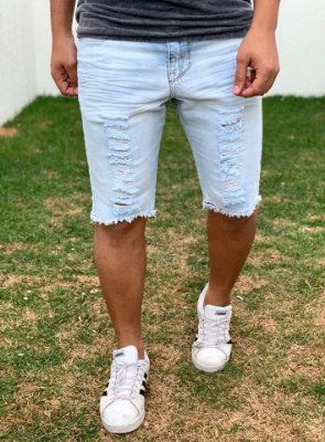 Bermuda Jeans Destroyed Light Blue - Kawipii