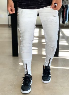Calça White Skinny Destroyed & Biker - Kawipii