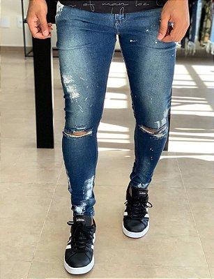 Calça Jeans Skinny Manchas & Rasgo no Joelho - City Denim