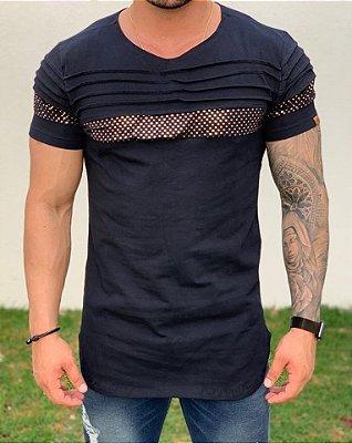 Camiseta Longline Black Recorte Dourado - Kawipii