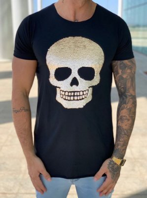 T-Shirt Long Black Skull Paetê - John Jones
