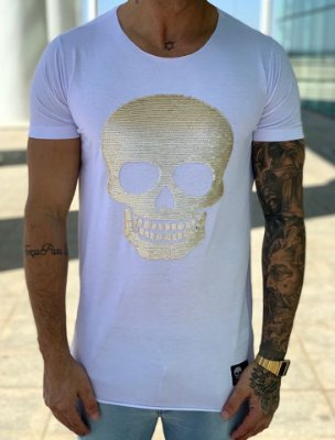 T-Shirt Long White Skull Paetê - John Jones