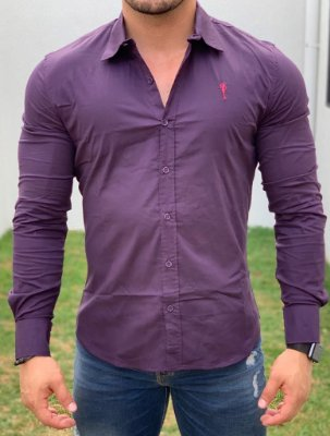 Camisa Manga Longa Basic Roxo - Zip Off