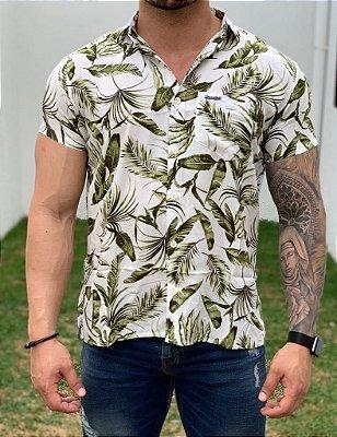 Camisa Manga Curta Verde e Branco - Kawipii