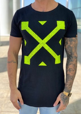 Camiseta Longline Black Green Off KWP - Kawipii