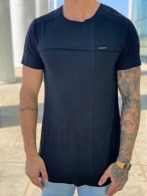 Camiseta Longline Black Recorte - Kawipii