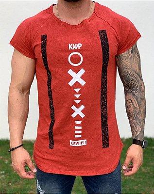 Camiseta Longline Raglan Red X Circle - Kawipii