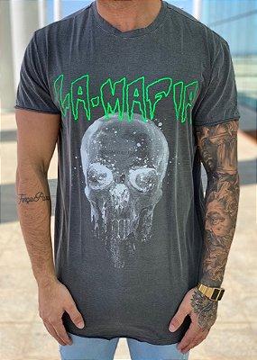 Camiseta Longline Grey Skull - La Mafia