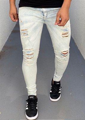 Calça Jeans Skinny Destroyed Lavagem Clara Azul - Creed Jeans