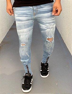 Calça Jeans Skinny Destroyed C/Zíper - Creed Jeans