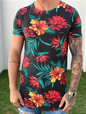 Camiseta Longline Black Flowers - Kawipii