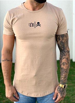 Camiseta Longline Logo And Skull Chocolate - FB Exclusive Clothing