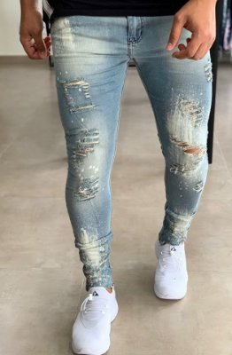 Calça Jeans Joaquina Skinny Destroyed Paints - City Denim