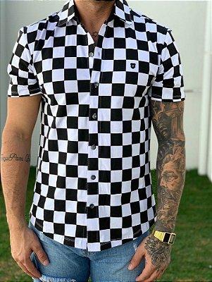 Camisa Manga Curta Grid P/B - Kawipii