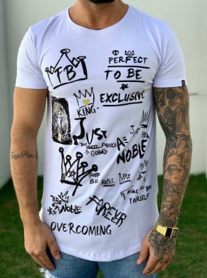 Camiseta Longline Formula White - FB Exclusive Clothing