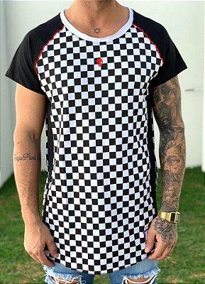 Camiseta Longline Raglan Xadrez - John Jones