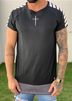 Camiseta Longline Raglan Black Barra Furos - John Jones