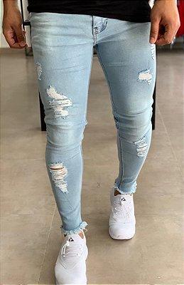 Calça Jeans Claro Skinny Destroyed Barra Desfiada - Degrant