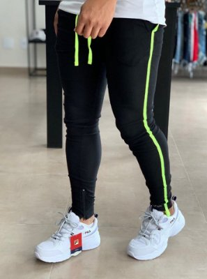 Calça Bengaline Black Stripe Neon - Lacapa
