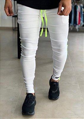 Calça Bengaline White Stripe Neon - Lacapa