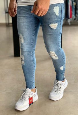 Calça Jeans Light Skinny Destroyed Best - Zip Off
