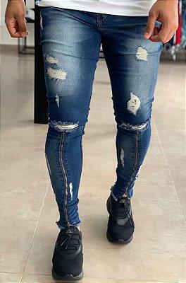 Calça Jeans Medium Skinny Zíper Joelho - Kawipii