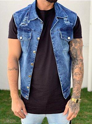 Colete Jeans Blue Destroyed - Exalt Urban