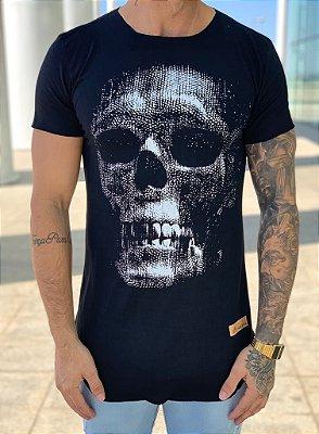 Camiseta Longline Black Skull - Kreta