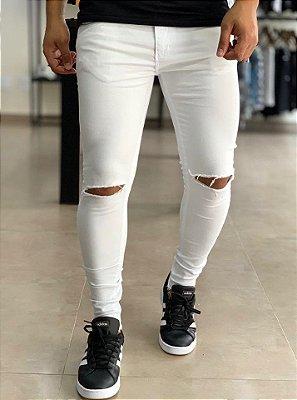 Calça White Skinny Rasgo no Joelho Nagoia - Creed Jeans