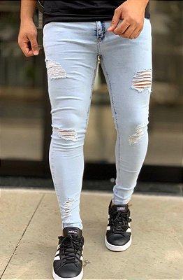 Calça Jeans Skinny Destroyed Clara Azul Sendai - Creed Jeans
