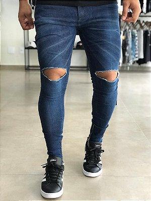 Calça Jeans Azul Skinny Rasgo no Joelho - Creed Jeans