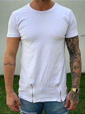 Camiseta Longline White C/ Ziper - Lacapa