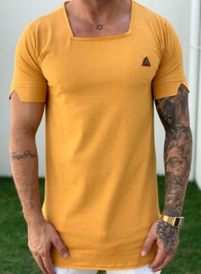 Camiseta Longline Basic Mostarda Gola Quadrada - Kawipii