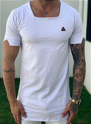 Camiseta Longline Basic White Gola Quadrada - Kawipii