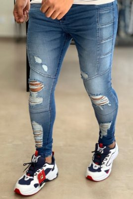 Calça Jeans Dark Skinny Destroyed & Recortes - John Jones