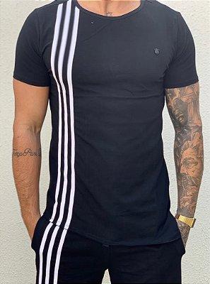 Camiseta Longline Black Faixas - Kawipii