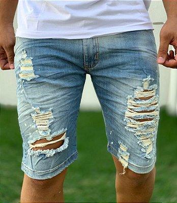 Bermuda Jeans Destroyed Light Blue - City Denim