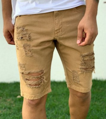 Bermuda Jeans Destroyed Caramelo - Kawipii