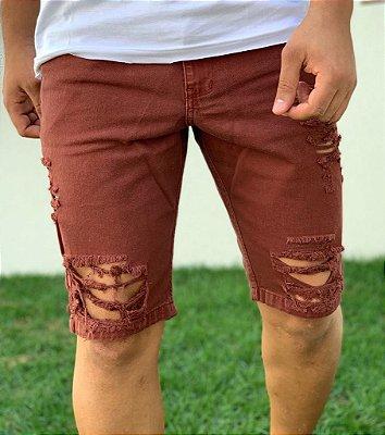 Bermuda Jeans Destroyed Bordo - Kawipii