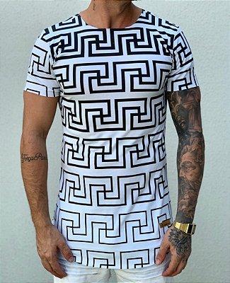 Camiseta Longline White Formats - Kreta